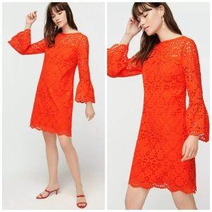 J.CREW BELL SLEEVE EYELET DRESS BRILLIANT SUNSET